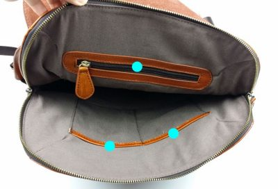 Stylish Leather Backpack-Inside