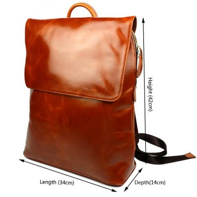 Stylish Leather Backpack-Size
