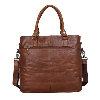 Unisex Leather Briefcase Laptop Bag-Back
