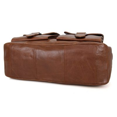 Unisex Leather Briefcase Laptop Bag-Bottom