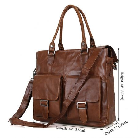 Unisex Leather Briefcase Laptop Bag-Size