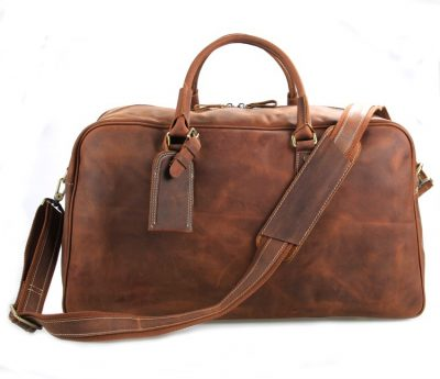 Unisex Leather Duffle Bag Travel Bag-Front