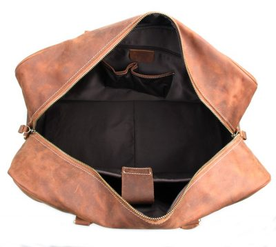 Unisex Leather Duffle Bag Travel Bag-Inside