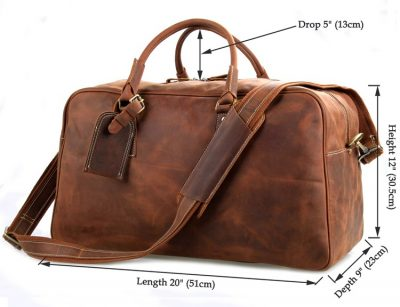 Unisex Leather Duffle Bag Travel Bag-Size