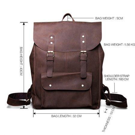 Vintage Genuine Leather Backpack-Size