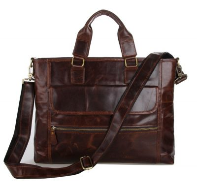 Vintage Leather Crossbody Laptop Bag-Front