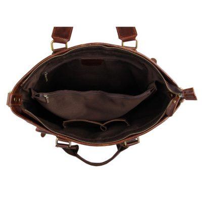 Vintage Leather Crossbody Laptop Bag-Inside