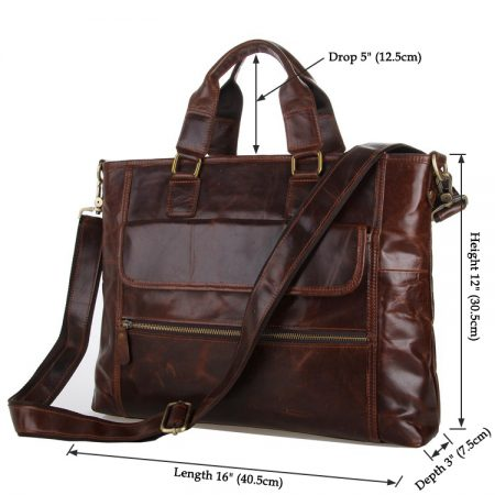Vintage Leather Crossbody Laptop Bag-Size