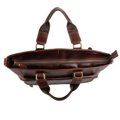 Vintage Leather Crossbody Laptop Bag-Top