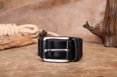 Black Classic Leather Belt-Long