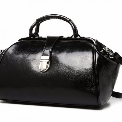 Black Designer Genuine Leather Handbag-Left