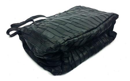 Black Mosaic Leather Handbag-Back