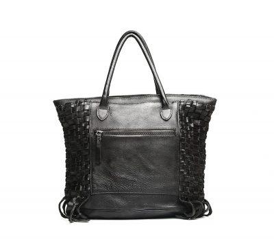 Black Vegetable Tanned Leather Handbag-Back