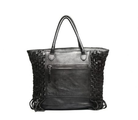 Black Vegetable Tanned Leather Handbag-Back