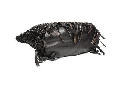 Black Vegetable Tanned Leather Handbag-Bottom