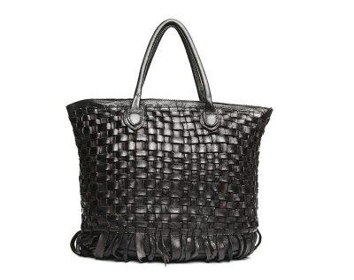 Black Vegetable Tanned Leather Handbag-Front