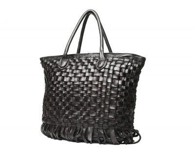 Black Vegetable Tanned Leather Handbag-Side