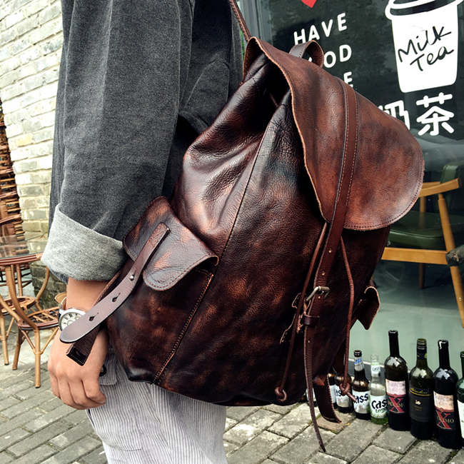 Brucegao leather backpacks for men
