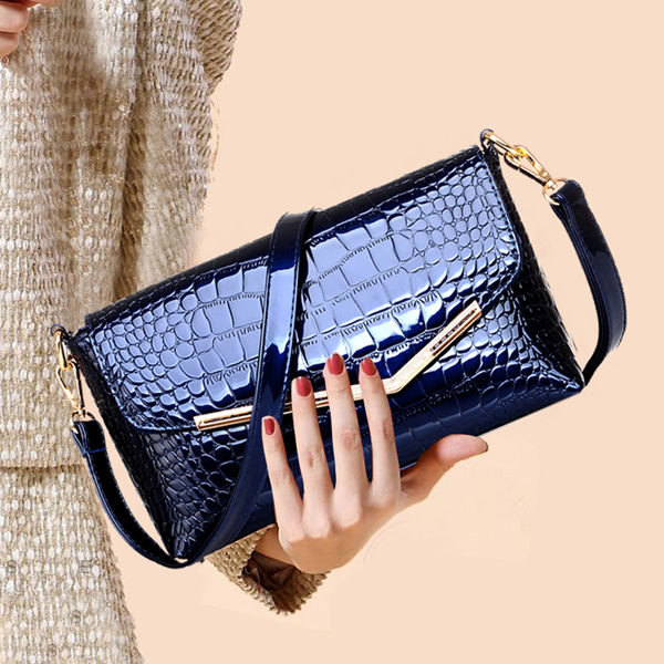 Brucegao women's classic crocodile leather evening bag