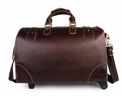 Classic Leather Travel Trolley Bag-Back