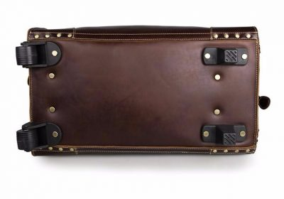 Classic Leather Travel Trolley Bag-Bottom