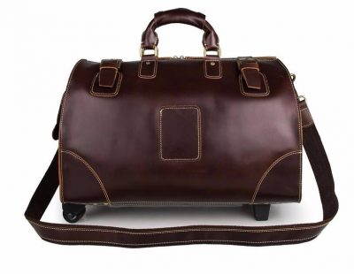 Classic Leather Travel Trolley Bag-Front