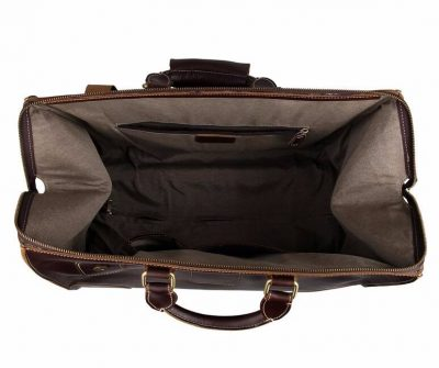 Classic Leather Travel Trolley Bag-Inside