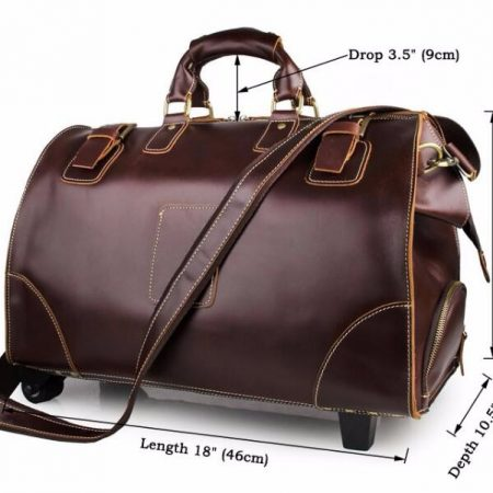 Classic Leather Travel Trolley Bag-Size