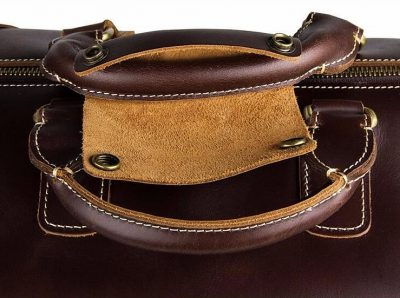 Classic Leather Travel Trolley Bag-Top botton