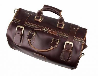 Classic Leather Travel Trolley Bag-Top details