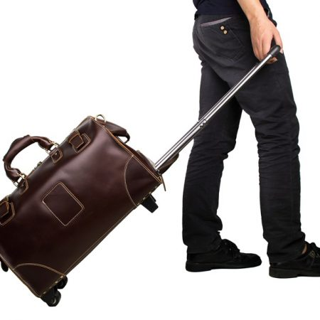 Classic Leather Travel Trolley Bags