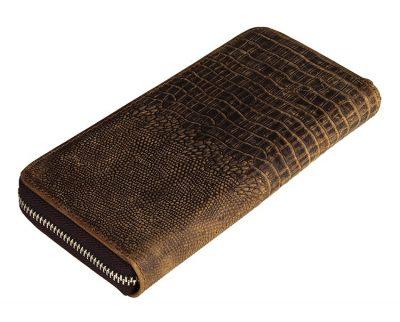 Crocodile Pattern Leather Clutch Wallet-Back