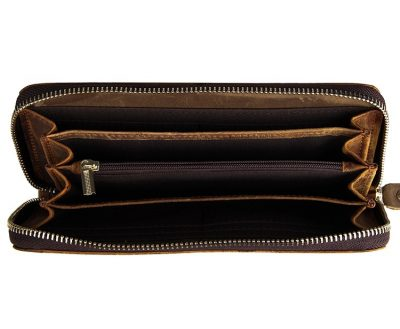 Crocodile Pattern Leather Clutch Wallet-Inside