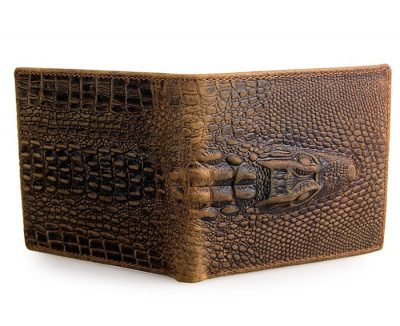 Crocodile Pattern Leather Wallet-Top