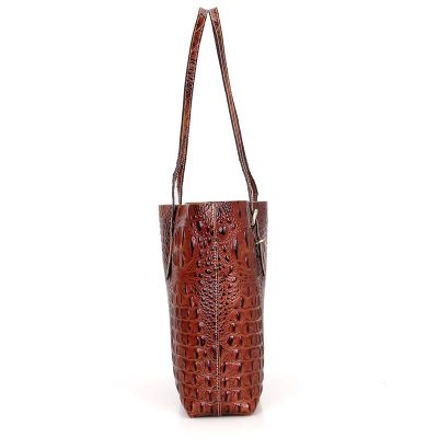 Crocodile Pattern Leather tote-Side