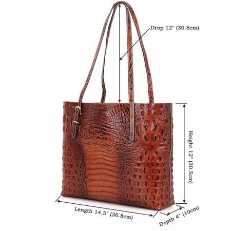 Crocodile Pattern Leather tote-Size