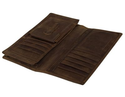 Dark Brown Leather Wallet Card Holder Wallet-Inside