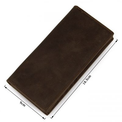 Dark Brown Leather Wallet Card Holder Wallet-Size