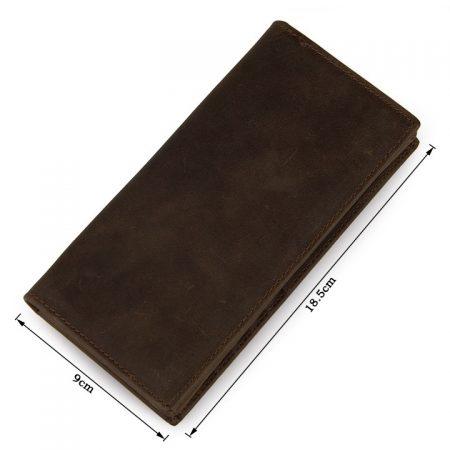 Dark Brown Leather Wallet Card Holder Wallet-Size