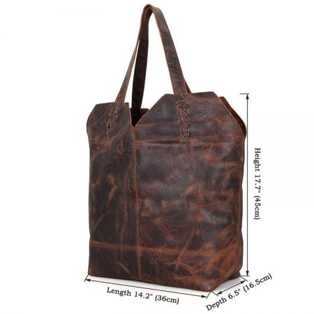 Designer Vintage Handmade Leather Tote Bag-Size