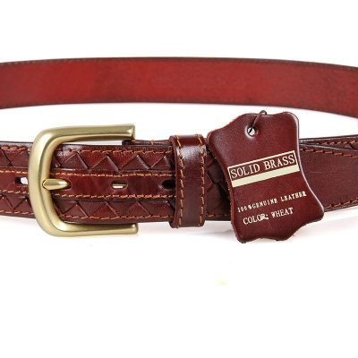 Durable Men's Leather Belt-Button