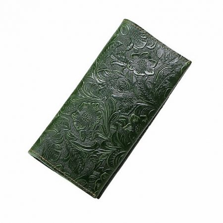 Embossed Flowers Long Leather Clutch Leather Purse