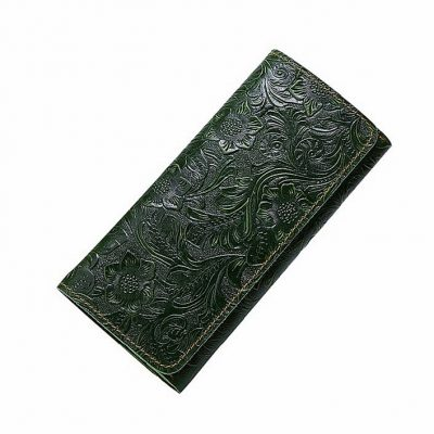 Embossed Flowers Long Leather Purse Clutch
