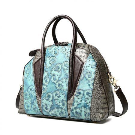 Green Shell Type Leather Handbag-Left