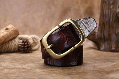 Handmade Dark Brown Mens Leather Belt-Buckle