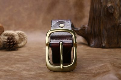 Handmade Dark Brown Mens Leather Belt-Front
