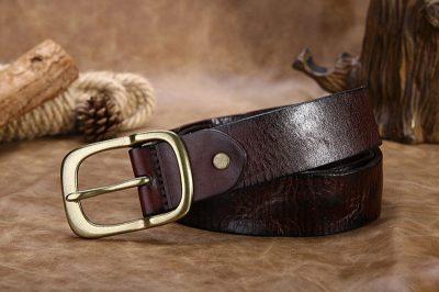 Handmade Dark Brown Mens Leather Belt-Long
