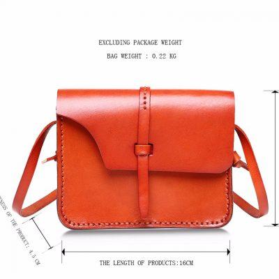 Handmade Leather Satchel, Leather Shoulder Bag-Size