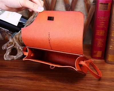 Handmade Leather Satchel,Leather Shoulder Bag-Inside