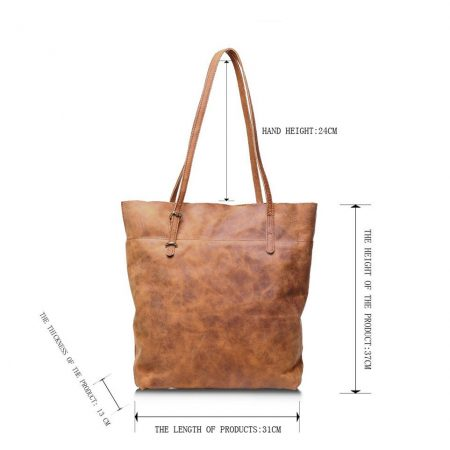 Handmade Vintage Leather Tote-Size